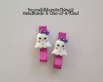 Ghosts   Pink Ribbon   Hair Clips for Girls   Toddler Barrette   Kids Hair Accessories   No Slip Grip   Halloween