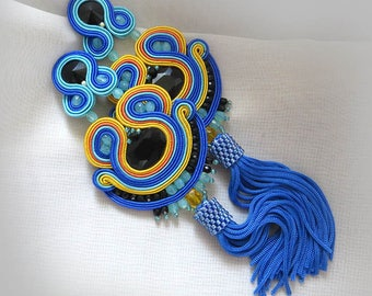 Colorful Tassel Earrings Bright summer earrings Soutache Earrings Fringe Earrings, Soutache Jewelry summer earrings gioielli