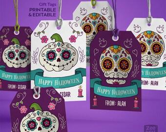 Printable Halloween  Gift Tags, Halloween Gift Tags, Halloween favor tags, Halloween Favour Tags, Halloween Tags, Sugar Skulls, Editable