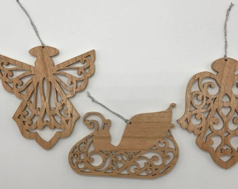 Filigree Angel and Sleigh Ornament Set - Cherry