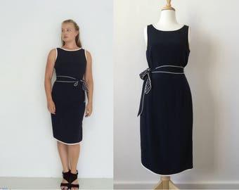 Vintage 100% Silk Jaeger Dress Navy Blue Sleeveless Sheath Column Dress Size 10 Contrast Lining