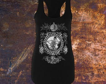 CAGED - Angels & Skeletons, Junior's Racerback Tank Top in Black, Death, Morbid, Gothic Tanks, Alternative Fashion (Sizes Avail: XS-2XL)