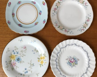 Vintage China Plate set, Mismatched Floral Tea Plates, Bread and Butter Plates, Dessert Plates, Blue Pink Yellow