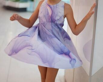 Girls printed flared dress, Sundress, Flower dress, Toddler summer dress, Summer outfit, Girls occasional dress