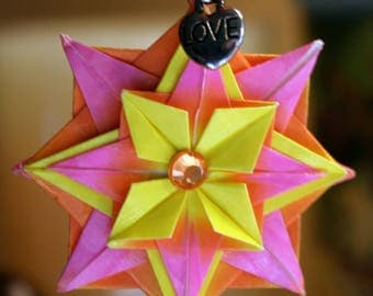 Origami Small Yellow Pink Orange Compass Star Hanging Ornament