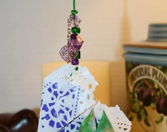 Origami White Paper Lace Purple Heart With Green Butterfly Hanging Ornament