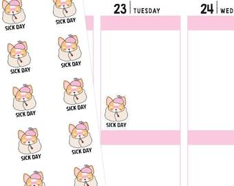 Sick Day Planner Stickers, Sick Day Stickers, Sick Stickers, Sick Planner Stickers, Activity Stickers, Corgi Stickers