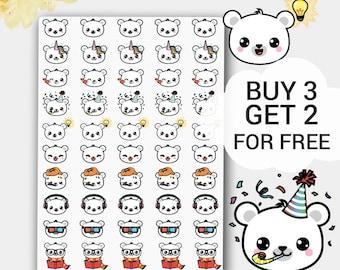 Kawaii Emoji Stickers, Emoticon Stickers, Emoji, Emoji Face Stickers, Cute Stickers, Bears Face stickers, Smile, Smiley Stickers, Kawaii