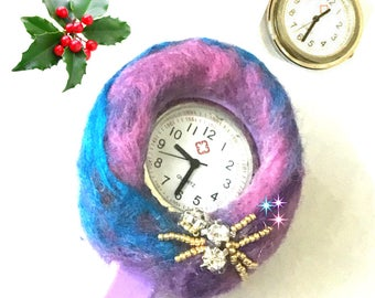 Needle Felted Watch Brooch, Hand Felted and Beaded Nurses Watch,  Unique Style gift,Original Designer Watch Brooch, Gift Boxed Brooch