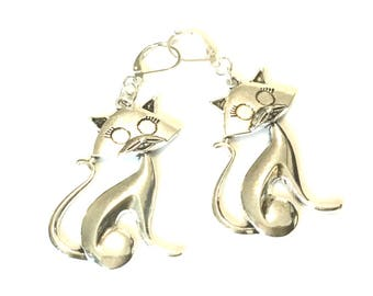 Silver Cat Earrings, Large Cat Earrings, Cat lover Earrings, Cat Lover Earring Gift, On Trend Style, Thank You Gift, Free Local Shipping
