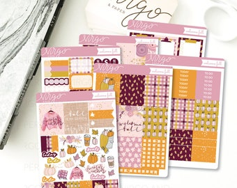Vertical Kit - Welcome Fall 6 Sheet Planner Stickers Kit - Fall, Autumn, Pumpkin, September, October - Glossy, Matte Stickers WFKV