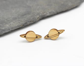 Saturn Stud Earrings   Laser Cut Space & Science Jewellery   Planets