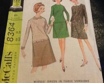 "Retro 1960s - size 14- bust 34 ""easy to sew"" Misses dress in three versions - stylish low waisted dress peter pan collar french darts- easy"