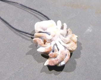 Octopus Pendant, Chalcedony Rose, Druzy, 1.7'' inches, apricot, hand carved, rough, metaphysical, beading supply