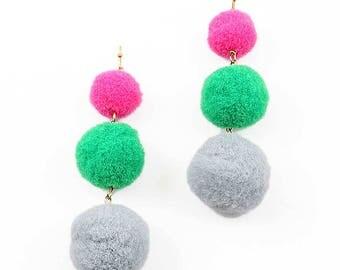 Jumbo 3-Tiers Pink Green Pom Pom Earrings