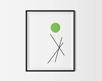 Modern Minimalist Art PRINT / Circles & Lines / Green / Black / White / Giclee