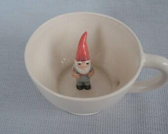 Mug ceramic white tea cup with gnome - tiled dwarf figurine miniature surprise