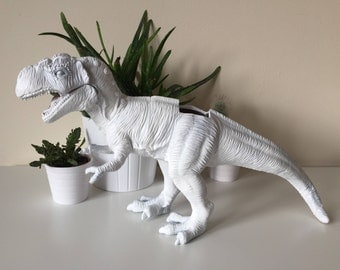 Tyranosaurus rex dinosaur planter with succulent plant trex home wedding birthday kids decoration decor office gift idea custom personalised