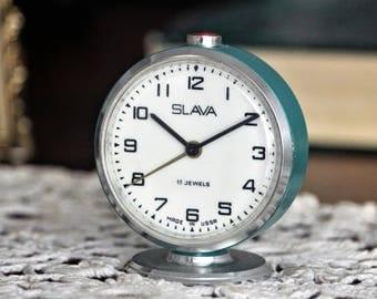Small Retro Clock - Vintage Clock - Blue Alarm Clock - Soviet Clock - Mechanical Desk Clock - Shelf Clock - Working Clock - Grandma Gift
