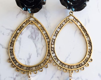 Handmade style Flamenco earrings gold and black