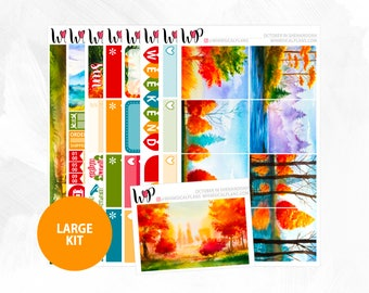 October in Shenandoah Large Kit | Full Boxes Checklists Functional Boxes Headers Sidebar Extras Washi | Matte Glossy Planner Stickers