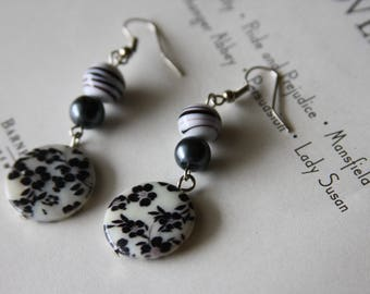 Black & White Cherry Blossom Earrings