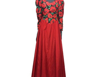 Vintage 80s Red Black Poppy Print Prom Evening Dress Ball Gown Puff Sleeve 16 18