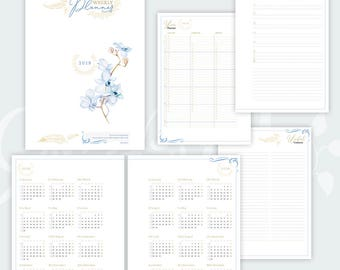 2018 Planner including: Weekly Planner, address book and 2018 & 2019 Yearly Calendar • Gold and blue colors • Watercolour design