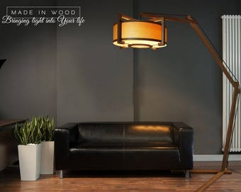 Floor lamp made from solid oak and ash veneer. Modern arch style. Also possible to buy matching pendant / ceiling light