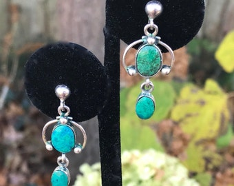 Turquoise and Sterling Drop Earrings