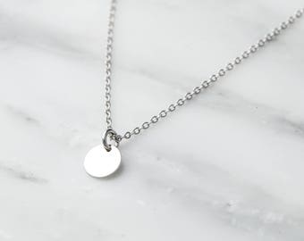 Silver Coin Necklace / Dainty Silver Disc Necklace / Silver Necklace / Silver Layering Necklace / Bridesmaid Necklace