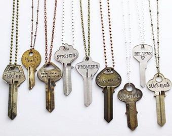 Key Necklace + Vintage Key + Stamped Key + Engraved Key Necklace + Inspirational + Repurposed Key + Unique Key Necklace + Hand Stamped Key