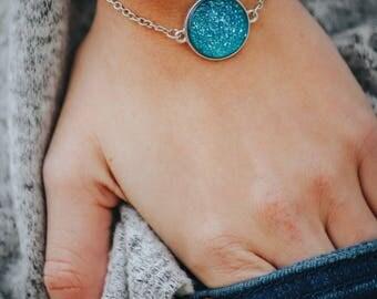Druzy Sterling Silver Bracelet Bracelet - Druzy Bracelet - Aqua Blue Druzy - Bridesmaid Gift - Gift for Her