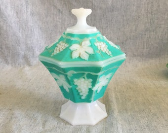 Vintage Anchor Hocking Grape Milk Glass Covered Candy Dish with Mint Green Accents