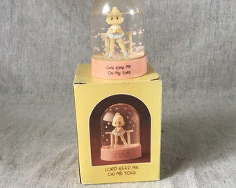"Vintage Precious Moments Ballerina Snow Globe, ""Lord Keep Me On My Toes"""