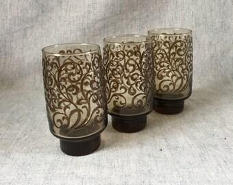 Vintage Libbey Prado Rock Sharp 14 Ounce Tumbler, Set of 3, Mid Century Smokey Brown Swirl Glasses