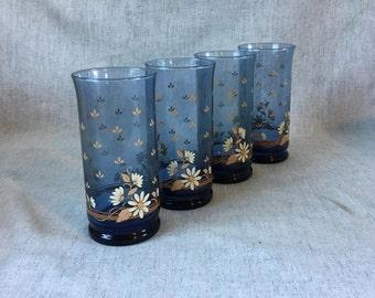 Vintage Libbey Blue Franco Daisy Iced Tea Glasses, Set of 4