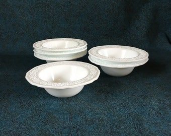 Vintage Indiana Custard Glass Dessert or Fruit Bowls, Set of 6, Floral Depression Glass