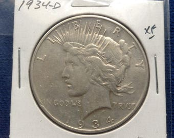 1934 D Silver Peace Dollar 90% Silver US Coin Old Coin Coin Investing
