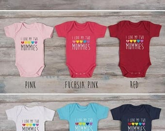 LATE SHIP SALE I Love My Two Mommies Baby Bodysuit, Lesbian Moms Gifts, Lesbian Pride Shirt, Mother's Day, Baby Shower, More Colors Availabl