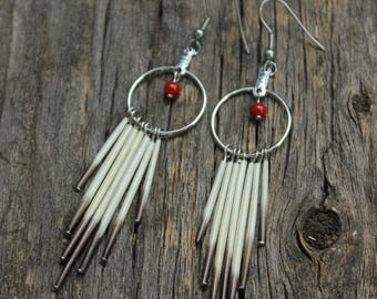 Porcupine Quills Earrings - Black and White - Natural Jewelry - Real Quills Earrings - Boho Earrings - Gypsy Jewelry - Natural Quills - Chic