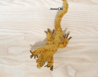 Beaded Brooch Lizard Gecko
