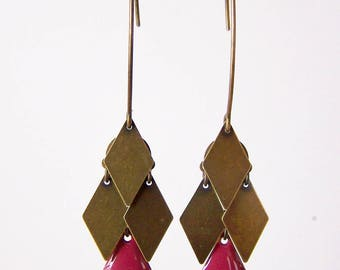 Cluster diamond earrings purple raspberry and bronze