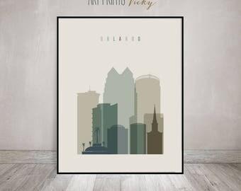 Orlando poster, print, Wall art, Travel, Orlando skyline, Florida, City poster, Typography art, Home Decor, Digital Print, ArtPrintsVicky