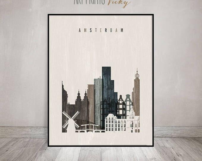 Amsterdam skyline, Amsterdam art print, poster, Wall art, distressed art, Netherlands, Home Decor, travel gift, ArtPrintsVicky