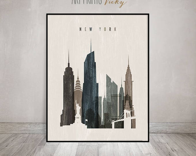 New York art print, Poster, Wall art, travel decor, Distressed, New York skyline, City prints, Typography art, Home Decor, ArtPrintsVicky.