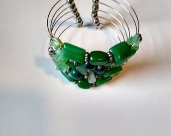 Green Genuine Stone Cuff Bracelet