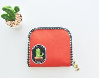 Cactus Lover (F) Mini Wallet - Plain Orange, Small Bi-fold Organizer Wallet, Zipper Coin Wallet, Fabric Coin Purse, Small Wallet