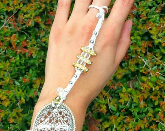 Goddess Slave Bracelet with crystal bead accents