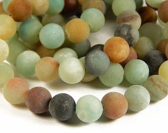 15 Inch Strand - 10mm Frosted Amazonite Beads - Matte Gemstone Beads - Jewelry Supplies